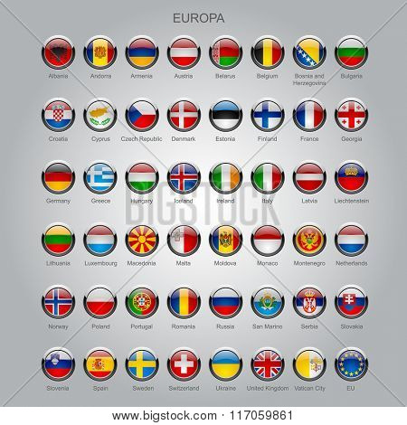 Set of round glossy flags of all sovereign countries of Europa with captions in alphabet order.  Vector illustration