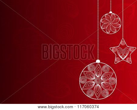 Red Background With Christmas Decorations .