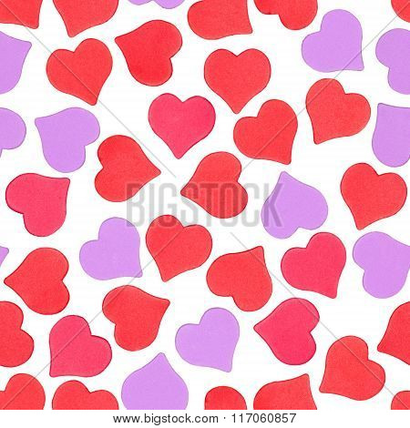 Seamless Pattern Of Hearts On White