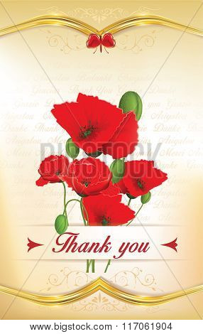 Thank you greeting card with poppies