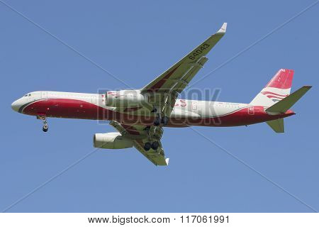 Flying the TU-204-100B (RA-64043) airline Red Wings against the blue sky