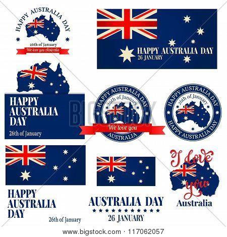 We Love You Australia Badge, Label, Logo, Greeting Card. National Celebration.