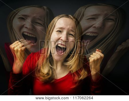 Creek. Double Exposure photo. Portrait of a young girl in a red dress on a gray background. Frightened shocked scared woman