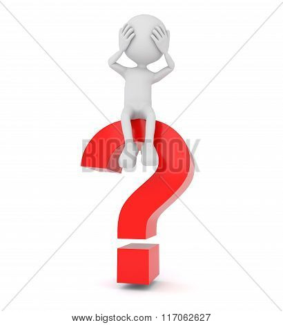 White 3D Person Sitting On A Question Mark