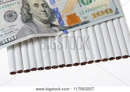 Cigarettes And Money Dollars