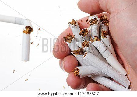 Broken Cigarette In Hand