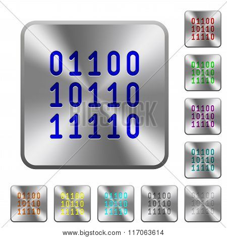 Steel Binary Code Buttons