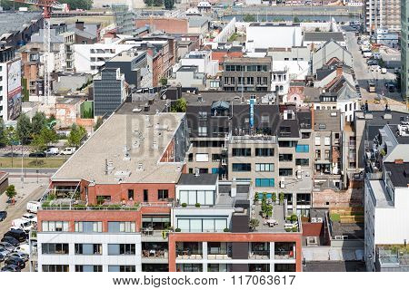 Aerial View Of Antwerp Port Area From Museum Mas Roof Terrace, Belgium