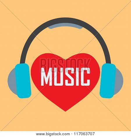 Headphones with Red heart and music inscription. Love music concept. Flat design. Vector.