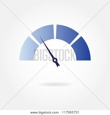 Speedometer icon with arrow. Gauge design element. Vector illustration.
