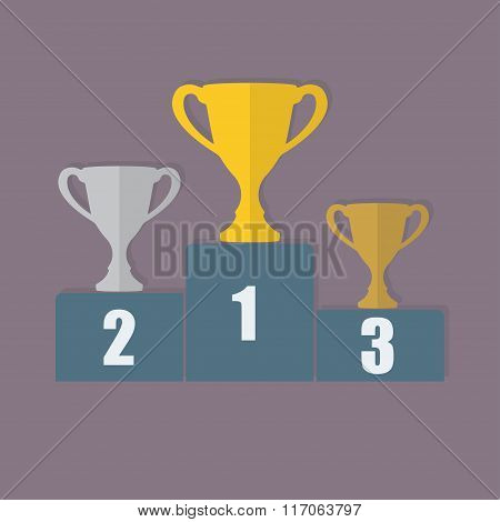 Gold, Silver and Bronze Trophy Cup on prize podium. First place award. Champions or winners icon.