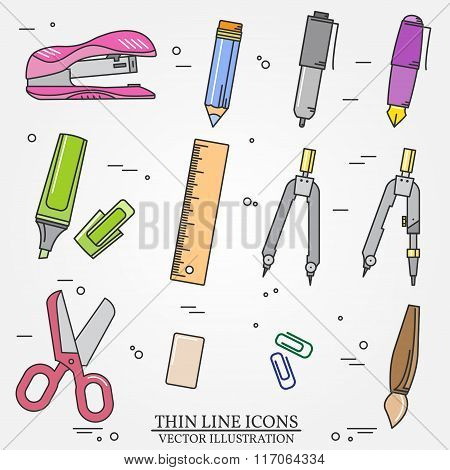 Drawing And Writing Tools Icon Thin Line For Web And Mobile, Modern Minimalistic Flat Design. Vector