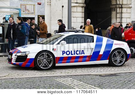 Parked Police Car On A City Street In Lisbon, Portugal, Europe