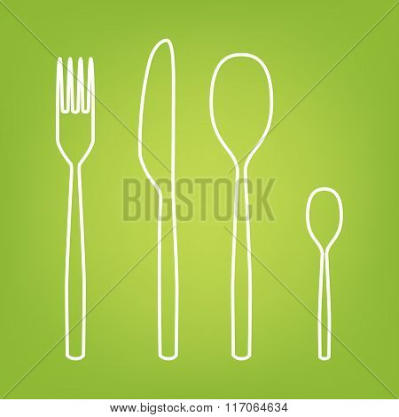 Fork spoon knife line icon