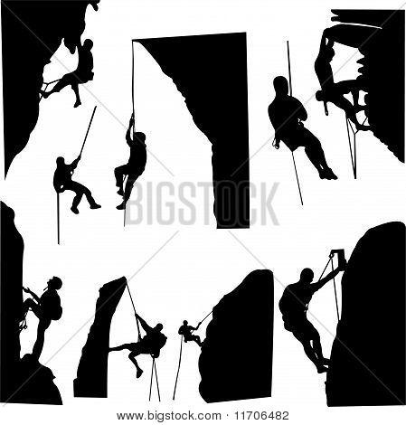 colección de silueta de escaladores de roca - vector