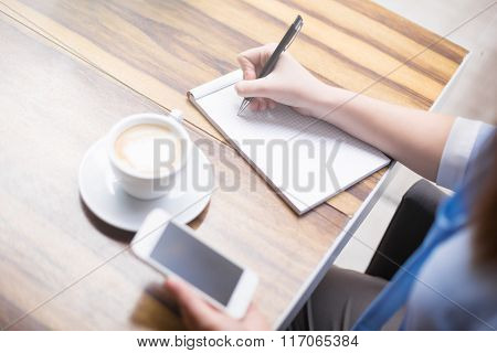 Working In Cafe At Break