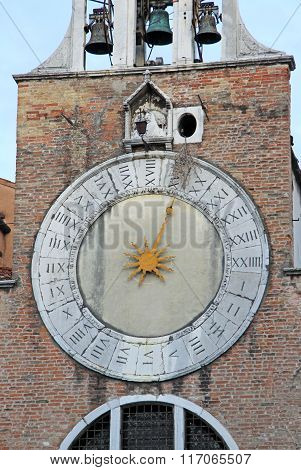 Venice, Italy - September 02, 2012: Clock Of The Church Of San Giacomo Di Rialto In San Polo Distric