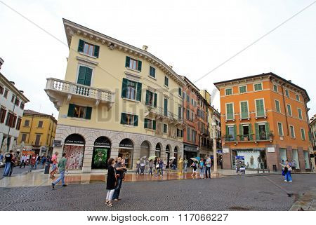 Verona, Italy - September 03, 2012: Buildings On Piazza Bra