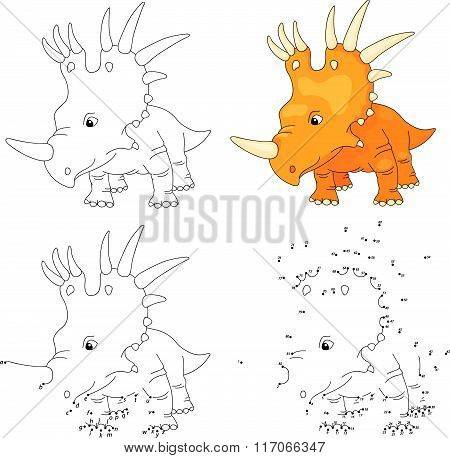 Cartoon Styracosaurus. Vector Illustration. Coloring And Dot To Dot Game For Kids