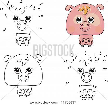 Funny Cartoon Pig. Vector Illustration. Coloring And Dot To Dot Game For Kids