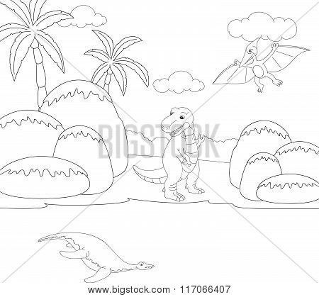 Funny Cute Pterodactyl, Pliosaur And Tyrannosaurus. Educational Game For Kids. Coloring Book