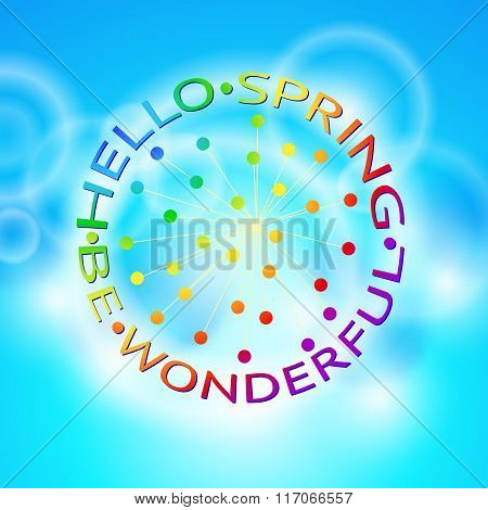 Vector Hello Spring typographical background.