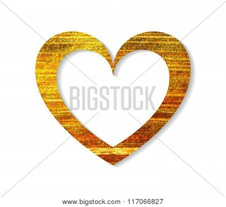 Gold heart frame on a white background.