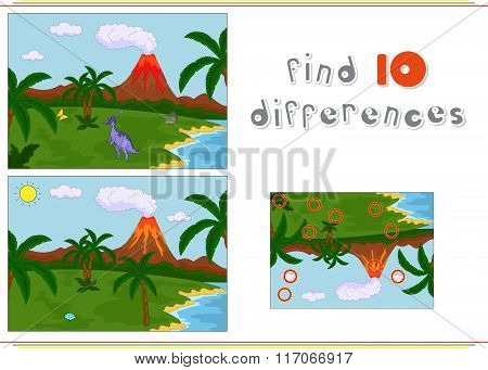 Funny Cute Parazaurolof On The Background Of A Prehistoric Nature. Game For Kids: Find Ten Differenc