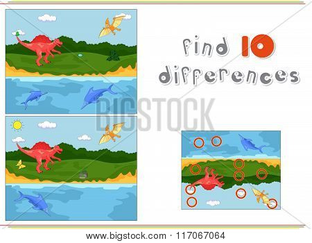 Funny Cute Pterodactyl, Ichthyosaur And Spinosaurus. Game For Kids: Find Ten Differences