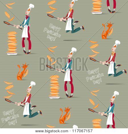 Happy Pancake Day! Cook Boy Tosses Pancake In Frying Pan. Seamless Background Pattern.