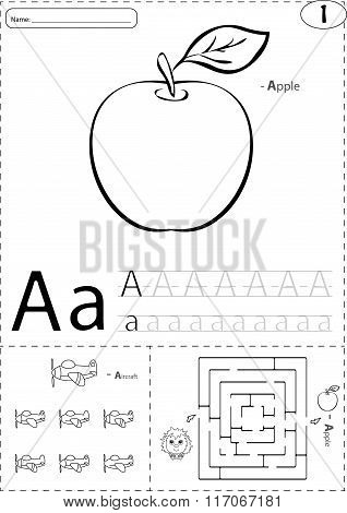 Cartoon Apple And Aircraft. Alphabet Tracing Worksheet: Writing A-z And Educational Game For Kids