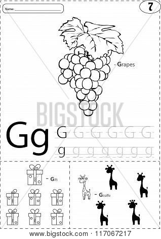Cartoon Grapes, Gift And Giraffe. Alphabet Tracing Worksheet: Writing A-z And Educational Game For K