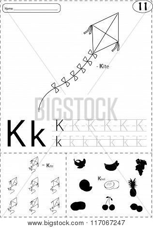 Cartoon Kite And Kiwi. Alphabet Tracing Worksheet: Writing A-z And Educational Game For Kids