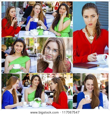Collage, Three Beautiful young happy women in colorful dress