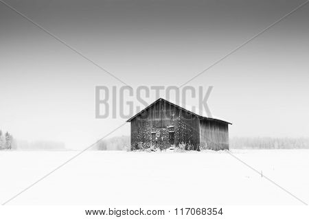 Lonely Barn On A Frosty Field