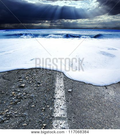 Road and sea.Sea storm concept