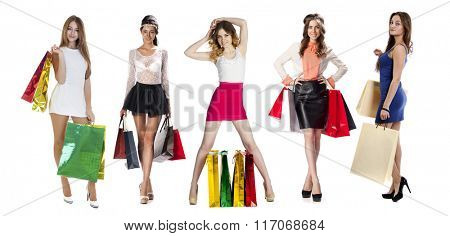 Collage Shopping People, Full length portrait of a beautiful young women posing with shopping bags, isolated on white background