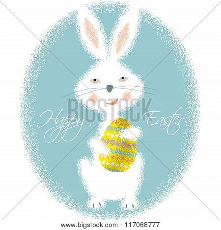 Happy Easter Card. Bunny Holding Easter Egg.