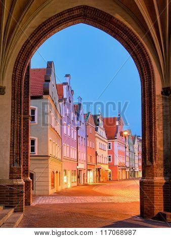 Medieval Old Town Landshut By Munich, Germany