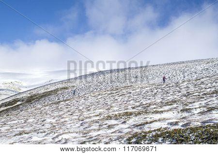 Two  Mountaineer In Snow Winter Mountain, Bulgaria