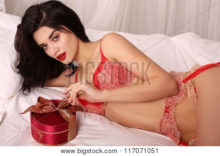 Sexy Girl In Elegant Lace Lingerie, Holding Red Heart, Symbol Of Valentine's Day