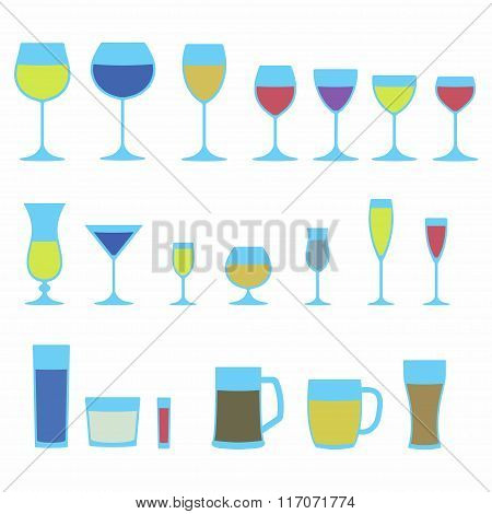 Glassware icon set. Colorful stemware for a different drinks. Beer glass, Wine glass and Cups.