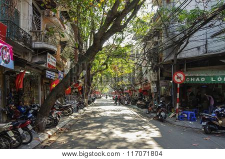 Hanoi, Vietnam -  January 1 2015: Downtown Street Life. Vietnam Capital In Whinter