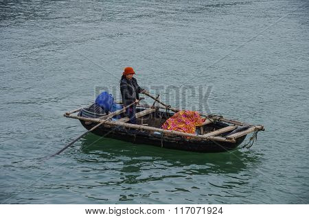 Ha-long Bay, Vietnam, 3 January 2015: Whoman On Fishing Vessel In Ha Long Bay, Vietnam