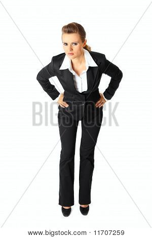 Full length portrait of displeased modern business woman isolated on white