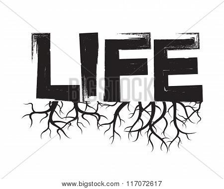 Black Vector Illustration And Text Life