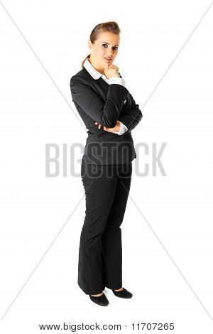 Full length portrait of thoughtful modern business woman isolated on white
