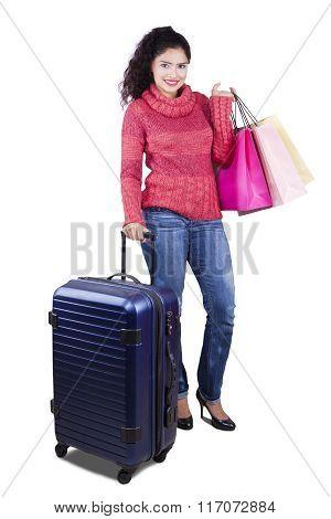 Indian Girl Having Shopping In Trip