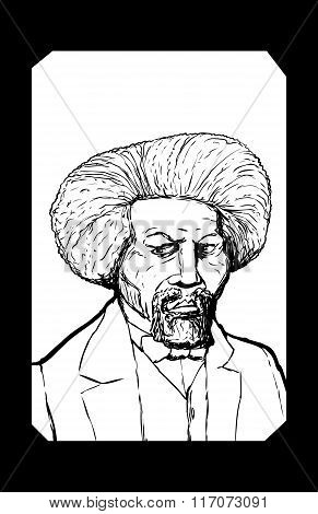 Outlined Portrait Of Frederick Douglass With Frame