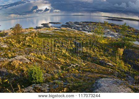 sunrise on lake Ladoga, Karelia